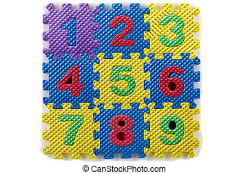 numbers on rubber mat - An image of numbers on a rubber mat...