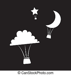Nighttime Hot Air Balloons - Hot air balloons shaped like...
