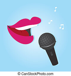 Microphone Lips - Womans lips singing into microphone