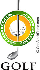 Golf seal - Golf club with ball emblem