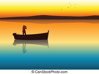 Castaway - Silhouette illustration of a man with binoculars...