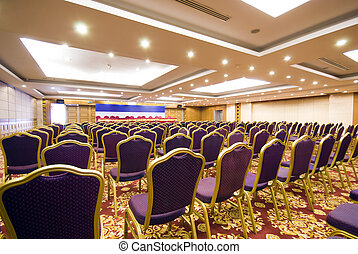 The luxury spacious meeting room of an upscale hotel