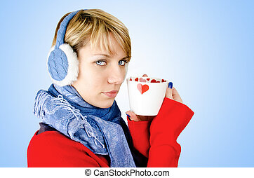 Girl with a cup of coffee - Cute blond girl, dressed in...