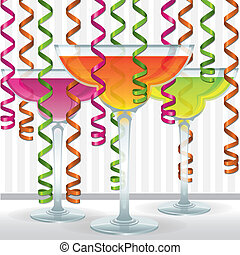 Cocktails! - Bright cocktail and ribbon card in vector...