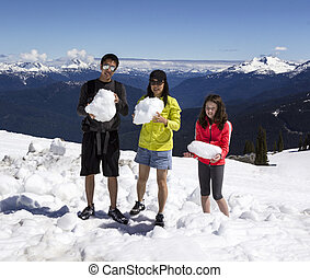 Family fun in the Mountains - Horizontal Shot of a young...