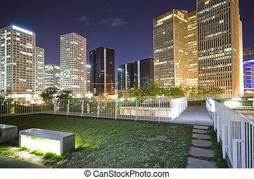 centro cidade,  Beijing, edifícios, escritório, noturna