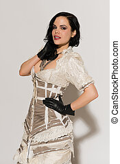 Frilly dress - Pretty slender brunette in a long frilly...