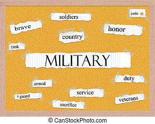 Military Corkboard Word Concept with great terms such as...