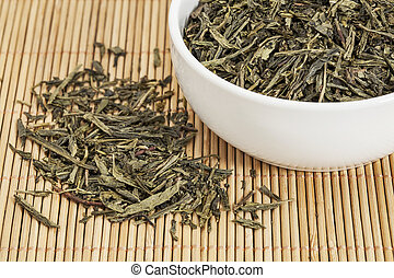 Sencha green tea - loose leaf Sencha green tea in a white...