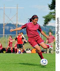 juventude, futebol, menina, golpear
