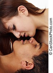 Kiss Happy loving couple - Kiss Happy loving couple close up...