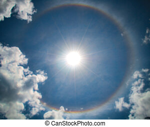 Circular Rainbow Around Sun with clouds