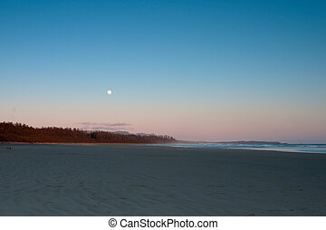 Simple Beach Dusk with Moon