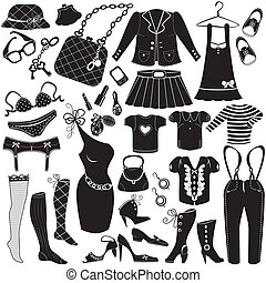 Illustration of Womans clothes, Fashion and Accessory icon...