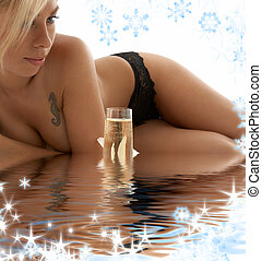 relaxation in blue water - picture of topless girl relaxing...