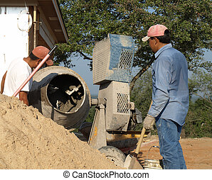 Mixing sand