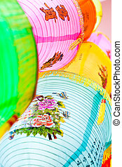 Colorful Chinese paper lanterns background