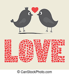 Love bird card - Two birds in love