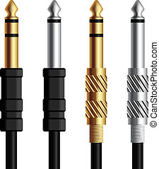 vector audio jack connector silver gold