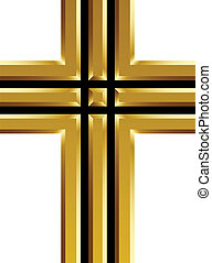 vector golden christian cross