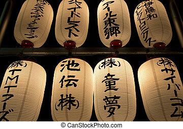 Closeup of oriental lanterns at night