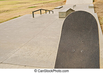 Skateboard surface at ramp - Surface of sateboard lifted...