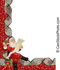 Christmas border Santa ribbons - Image and Illustration...