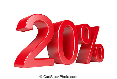 20% Sale Discount. Isolated On White Background