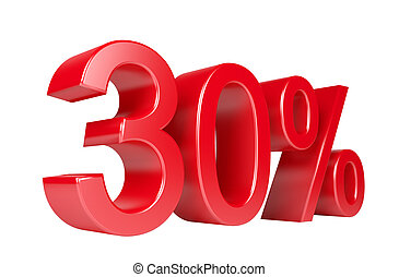 30% Sale Discount. Isolated On White Background