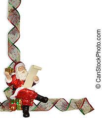 Santa Christmas ribbons border - Image and Illustration...