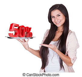 Woman presenting 50 discount on silver platter - Beautiful...
