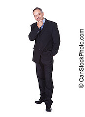 Portrait Of A Happy Business Man Isolated On White...