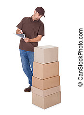 Delivery Man Counting Boxes Isolated On White Background