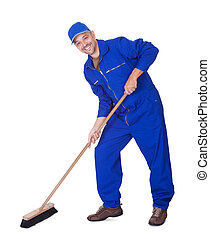 Happy Sweeper Cleaning Floor On White Background