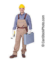 Happy Construction Worker Holding Toolbox On White...
