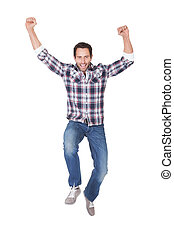 Portrait of excited middle age man. Isolated on white