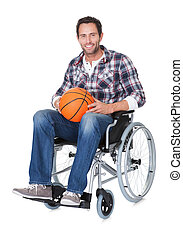 Man in wheelchair with basketball Isolated on white