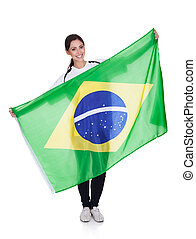 Pretty Woman Holding Brazilian Flag - Portrait Of A Happy...