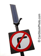 no right turn sign with solar panel