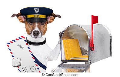 mail dog - postman mail dog with a air mail letter and mail...
