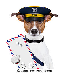 mail dog - postman mail dog with a air mail letter