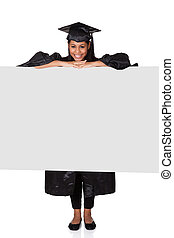 Graduate Woman Holding Placard Isolated On White