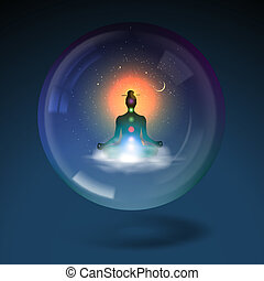 Silhouette sitting lotus position in sphere. - Meditating...