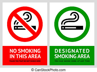 No smoking and Smoking area labels - Set 8, vector...