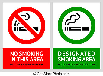 No smoking and Smoking area labels - Set 9, vector...