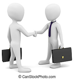3d business people greet. 3d image. On a white background