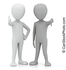 3d small people - yes and no. 3d image. On a white...