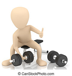 3d small person lifts weights. 3d image. On a white...
