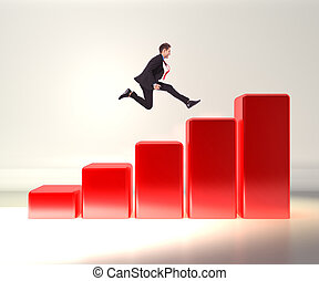 business man jumping on a 3d graph