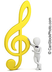 3d small person - golden music key